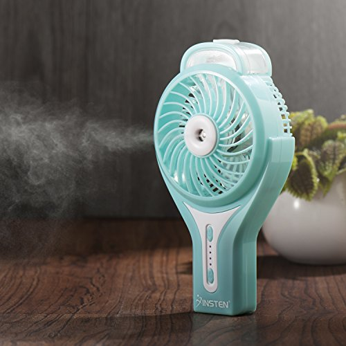 Insten Portable Handheld USB Mini Misting Fan With Personal Cooling Humidifier, Rechargeable Battery & Water Spray Fan for Music Festival, Traveling & Preventing from Heat Stroke, Blue (18v Bucket Top Misting Fan compare prices)