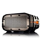 Water Resistant Portable Wireless Speaker by Braven. Black with Orange Relief and Gray Grill. 1400mA battery