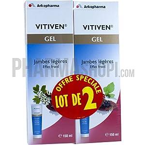 Arkopharma - Vitiven Jambes Légères Fraicheur Intense - lot de 2 Tubes de 150 ml