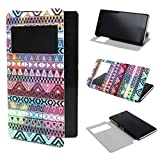 TUTUWEN View Window Painting Art Tribal Style Design PU Leather Flip Stand Case Cover for Sony Xperia Z2