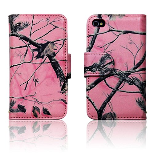 Apple iPhone 4 4s Pink Camo Mossy Tree Leather Wallet Case Cover with Clear Slot for ID. Credit Card Slots and Hidden Slot for Cash (Camo Iphone 4 Covers compare prices)