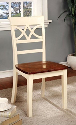 Furniture of America Cherrine Country Style Dining Chair, Oak/Vintage White, Set of 2 0