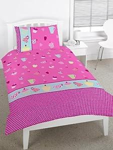 Kids Tea Party Duvet Cover Set Pink, Single Bed