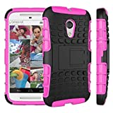 Moto G Case, Motorola G (2nd Generation) Case, Sophia Shop Dual Layer Drop Protection Design 2 in 1 Moto G (2nd Gen.) Case, Black Hard Cover Combine Multi-color Option TPU Soft Gel Middle Bumper Premium Slim Fit Impact Resistant Protective Armor Rugged Hard Moto G (2nd Gen.) Case, Heavy Duty Tough Rugged Dual Layer Case, Tire Series Armor Defender Protective Tough Dual Layer Protection Case ONLY for Moto G (2nd Gen.) Case Toughbox Carrier Compatibility At&t, Verizon, T-mobile, Sprint, and All International Carriers (Hot Pink)