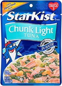 StarKist Tuna Chunk Light Pouch In Water, 2.6000-Ounce Pouches (Pack of 24)