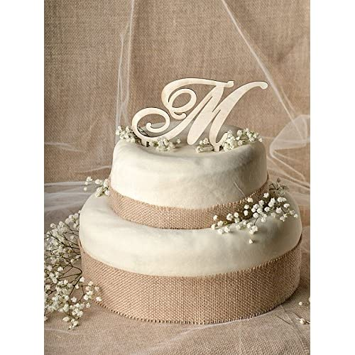 Rustic Wedding Cake Topper-wood Cake Topper Initial Cake Topper in Any Letter a B C D E F G H I J K L M N O P Q R S T U V W X Y Z