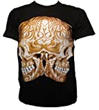 Twin Skulls Tribal Tattoo Mirror Image Goth Biker Double Sided Print T-shirt