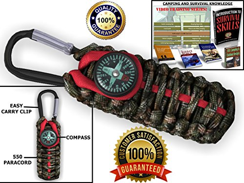 ReadyClip 550 Paracord Grenade Emergency kit - Your parachute cord Survival pack has a clip & compass can be stuffed with tools & gear for your adventures! 100% Lifetime Guarantee (Green Camo/Red)