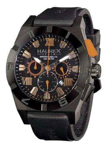 Haurex Italy Challenger 2 Chronograph Gray Dial Watch #3N350UNO - Reloj de caballero de cuarzo, correa de goma color negro