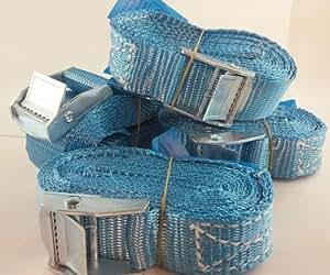 6 Stück Lasten Verzurrgurt Duo300 3m/250kg Spanngurt Zurrgurt mit Klemmschloss Befestigungsriemen (blau)