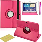 Fulland Colorful 360 Rotating Flip Leather Case Cover for Samsung Galaxy Tab3 10.1 P5200 with Smart Auto Wake/Sleep Function plus Stylus Touch Screen Pen and Screen Protector-Hot Pink