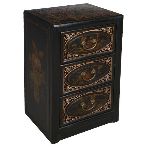 Cheap EXP Handmade Furniture -25″ Antique Style Black Leather End Table With Bas-Relief Floral Design (B0027WCNFO)