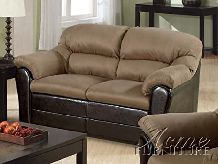 Saddle Microfiber Dark Brown Bycast Love Seat by Acme