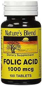 Folic Acid 1000 mcg 1,000 mcg 100 Tabs by Natures Blend