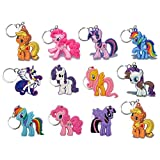 12 Pieces My Little Pony PVC Party Set Key Chains for Boys and Girls Birthday Themes