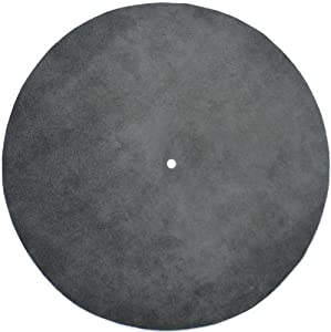 Genuine Leather Turntable Platter Mat - Charcoal Gray Suede