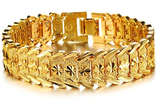 bracelet-a-breloques-hommes-plaque-or-18k-sculpture-fleur-de-prunier-forme-boucle-deployante-adisaer
