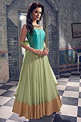 Kimberly Women's Georgette Anarkali Suit Dress Material (SRA-53_Turquoise)