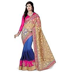 AASVAA Gold Shad Net Fabric Fancy Saree