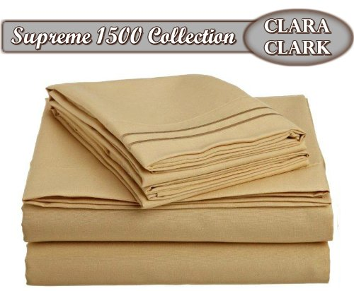 Clara Clark ® Supreme 1500 Collection 4Pc Bed Sheet Set - Cal King Size, Camel Gold front-772645