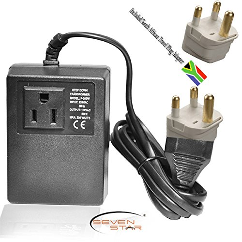 Seven Star Transformer 200W Step Down 220/110 + South Africa Travel Adapter Plug front-99121