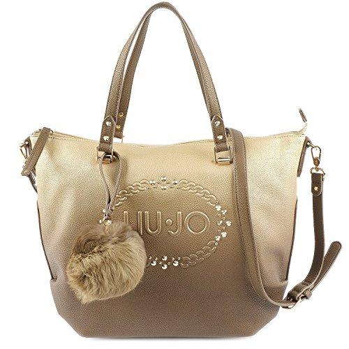 LIU JO LUCCIOLA Borsa shopping a spalla con logo e borchiette in ecopelle SFUMATA GOLD