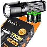 FENIX TK35 Ultimate Edition 2015 version (TK35UE) 2000 Lumen CREE XHP 50 LED Tactical Flashlight with 4 X EdisonBright CR123A Lithium batteries, Holster & Lanyard bundle