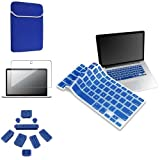 eForCity 4-in-1 Accessories Blue Laptop Sleeve Pouch Soft Cover + Blue Silicone Keyboard Shield Cover + 9-Pieces Anti-dust Plug Cap Blue Free With LCD Clear Screen Protector Film Compatible With Apple® MacBook® Pro 13 inch