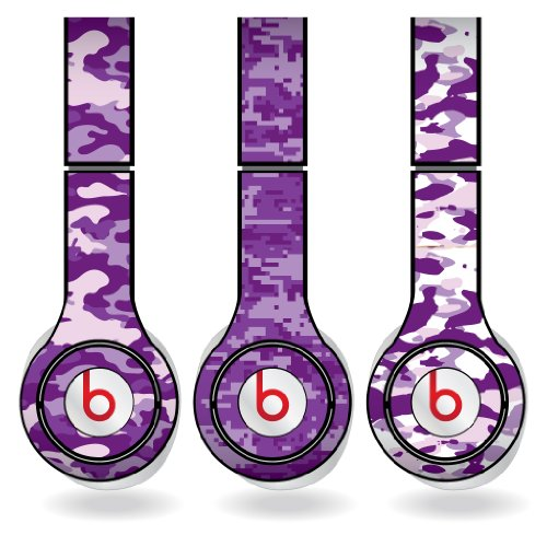 Purple Military Camouflage Print Set Of 3 Headphone Skins For Beats Solo Hd Headphones - Removable Vinyl Decal!
