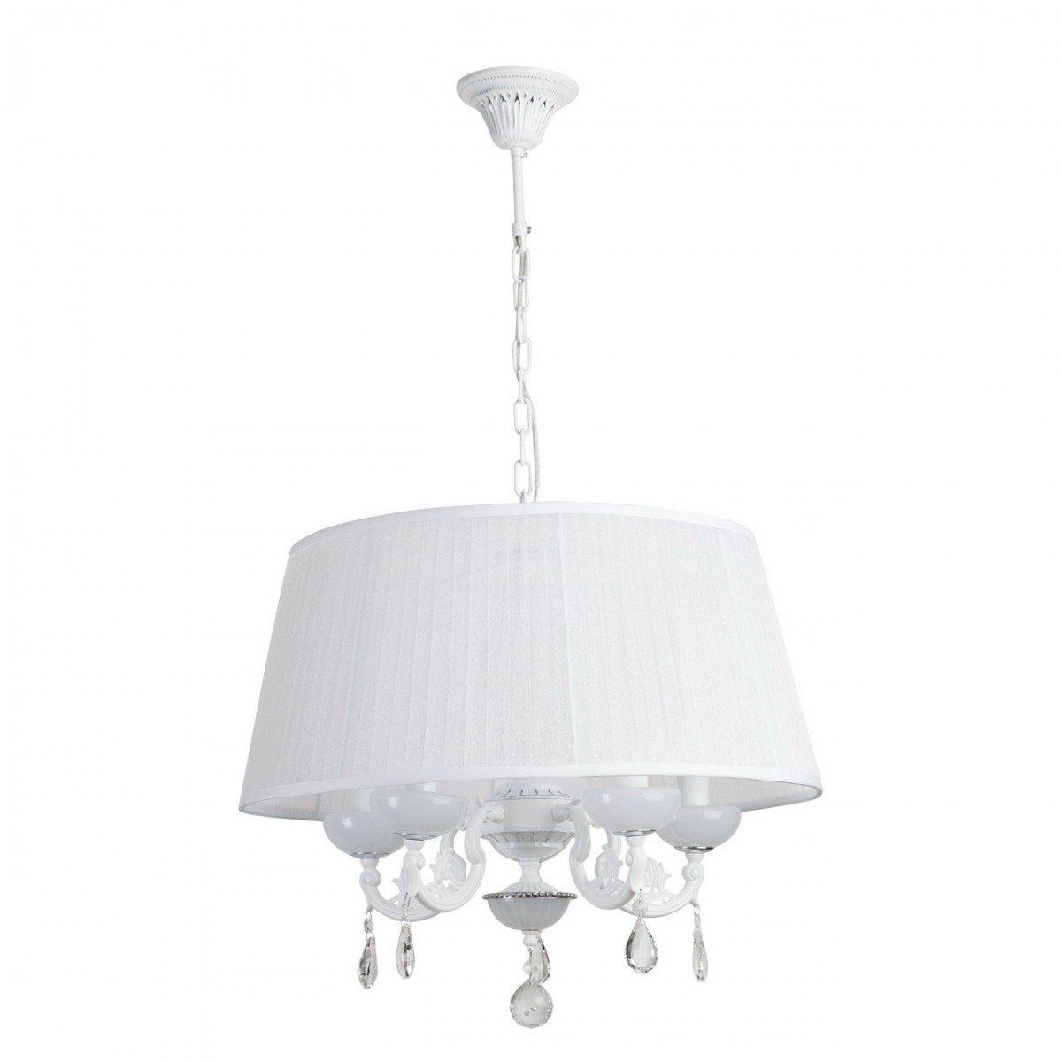 Deckenleuchte Deckenlampe Lampe Leuchte Crystal Style, rund Ø 55 cm, Weiß / Chrom mit Kristallen, 5 x E14 max. 60 W
