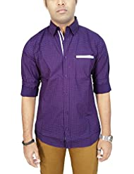 AA' Southbay Men's Purple Printed 100% Premium Cotton Long Sleeve Party Casual Shirt