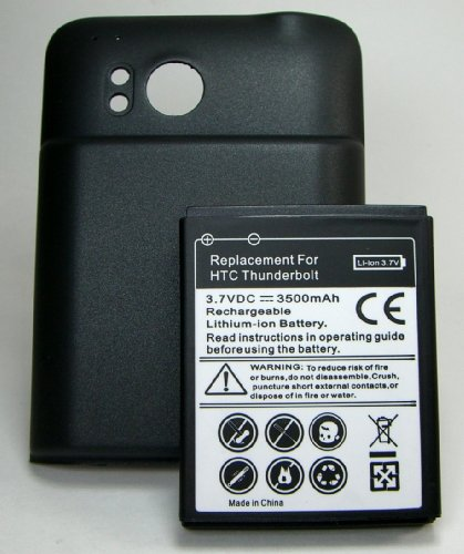HTC Thunderbolt 4G LTE 3500mah Extended Battery + Cover