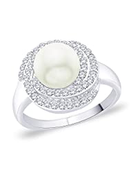 Peora Sterling Silver Rhodium Plated CZ And Imitation Pearl Cocktail Ring (PR5068)