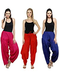 Pistaa Combo Of Womens Solid Cotton Rani Pink,Red And Royal Blue Best Ethnic Comfort Punjabi Patiala Salwar Bottom...