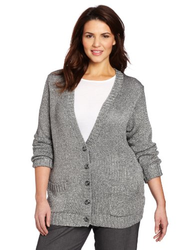Jones New York Women's Chainette Cardigan, Grey/Silver, 1X | Sweater Center - Ao Len Dep