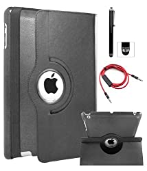 DMG Full 360 Degree Rotating Leather Cover Smart Case for Apple iPad 2/3/4 with DMG Wristband, Aux Cable with Mic, Stylus (Black)