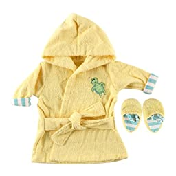 Luvable Friends Color Bath Robe with Slippers - Woven Terry in Yellow