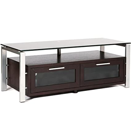 Television Entertainment Stand Espresso with Black Glass