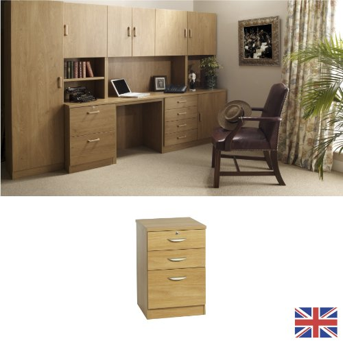 Home Office Furniture - Fully Assembled - Filing Cabinet - English Oak - Wood Handles - Three Drawer - Wood Effect... FOR USE IN: study bedroom lounge conservatory WE ALSO MAKE: cupboard plan chest hideaway desk draw drawers table free standing computer u