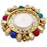 Happy Bells Metal Bangle Tea Light Candle Holder/ Designer Diwali Diya (10.16 Cm X 10.16 Cm X 10.16 Cm, Golden...