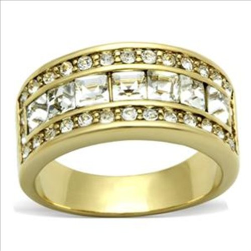 Princess cut cz 9mm Wide Band Ring Gold-plated Cubic Zirconia (6)