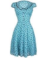 Voodoo Vixen - Damenkleid Schleifen Aufdruck 50er Jahre Stil Blau
