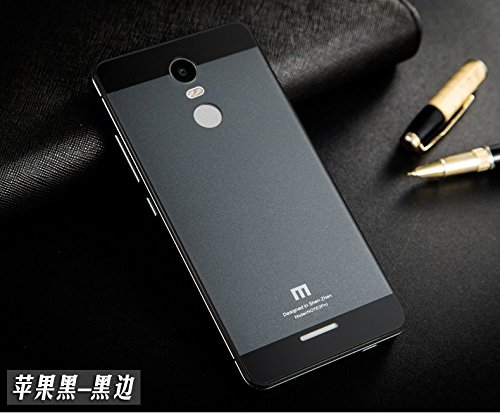 CLASSY Xiaomi Redmi Note 3 Case Luxury Aluminum Frame & Tempered Glass Back Cover for Redmi Note3- Grey with black
