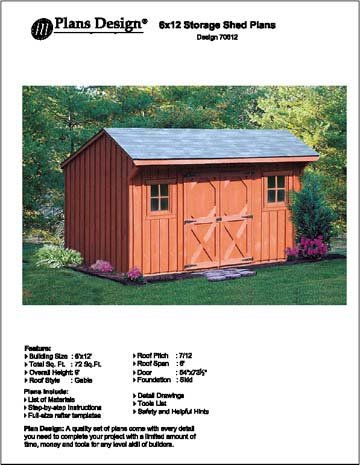 6 X 12 Saltbox Storage Shed Playhouse Plans Design 70612
