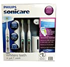 Philips Sonicare Flexcare Rechargeable Sonic Toothbrush Premium Edition 2 pack bundle (2 Flexcare Handles, 2 Diamond Clean Standard Brush Heads, 1 Compact Travel Charger, 2 Hygienic Travel Caps, 2 Hard Travel Cases, 1 UV Sanitizer)