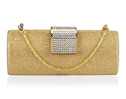 A4aadi PU Gold Clutch For Women