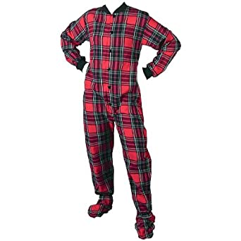 Big Feet PJs Red Plaid Flannel Footed Pajamas for Women and Men XS