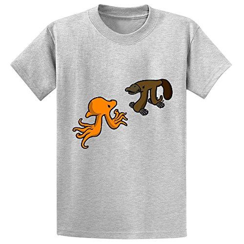 octopi-vs-platypi-youth-crew-neck-print-tees-grey