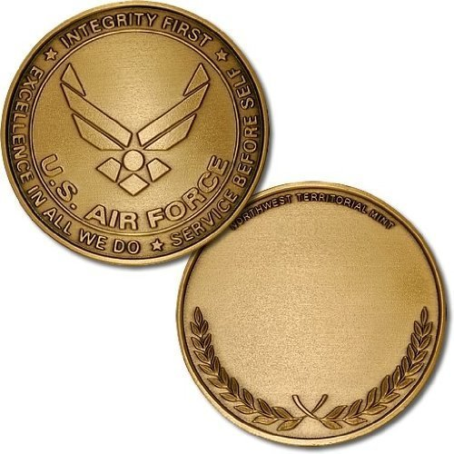 "Air Force Emblem - Wreath 1 7/8"" Bronze Antique Challenge Coin"
