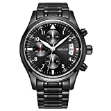 SONGDU Mens Date Black Military Multifunction Chronograph Watches Luminous Numeral Stainless Steel